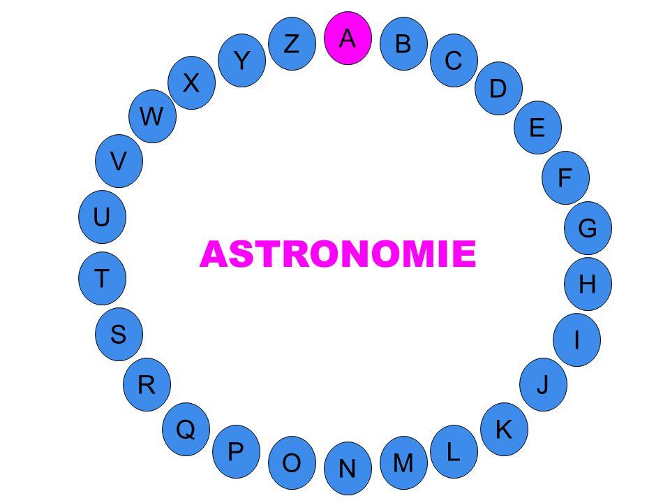 M A G S C U H W Y I F D B L K J T R Q P O N E V Z Science des astres, des corps célestes et de la structure de lunivers.