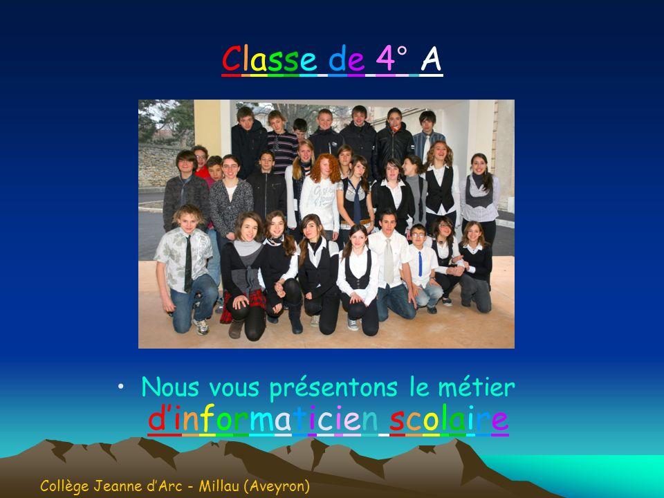 Classe de 4° AClasse de 4° A Nous vous présentons le métier dinformaticien scolaire Collège Jeanne dArc - Millau (Aveyron)