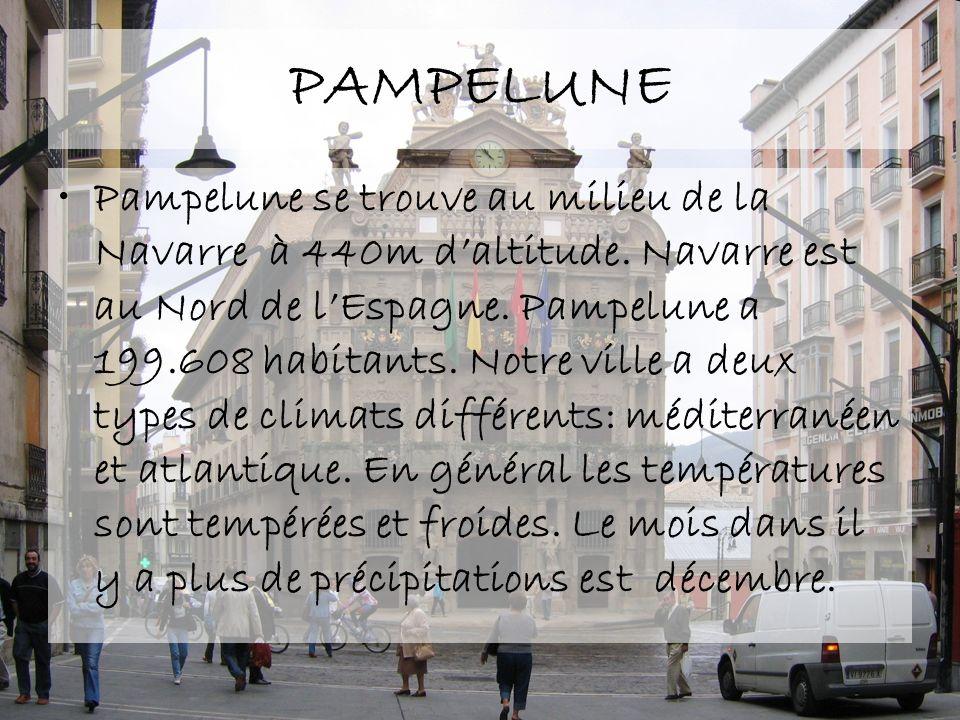 PAMPELUNE Pampelune se trouve au milieu de la Navarre à 440m daltitude. Navarre est au Nord de lEspagne. Pampelune a 199.608 habitants. Notre ville a