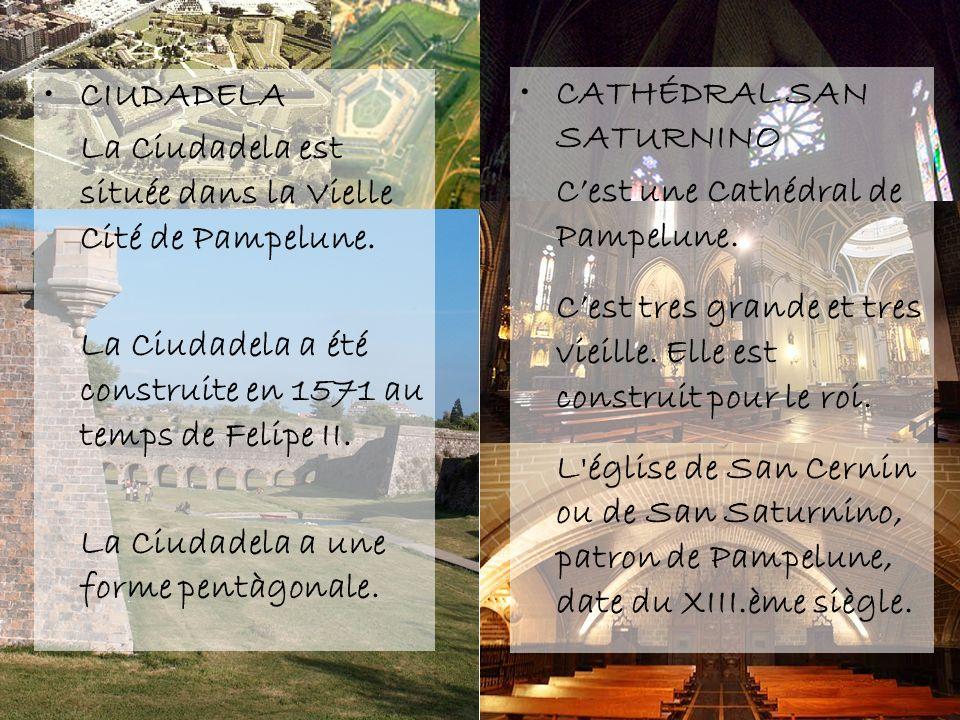 CIUDADELA La Ciudadela est située dans la Vielle Cité de Pampelune. La Ciudadela a été construite en 1571 au temps de Felipe II. La Ciudadela a une fo