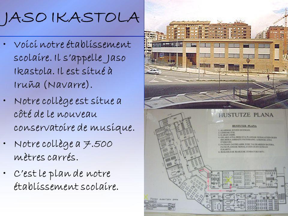 JASO IKASTOLA Voici notre établissement scolaire. Il sappelle Jaso Ikastola. Il est situé à Iruña (Navarre). Notre collège est situe a côté de le nouv