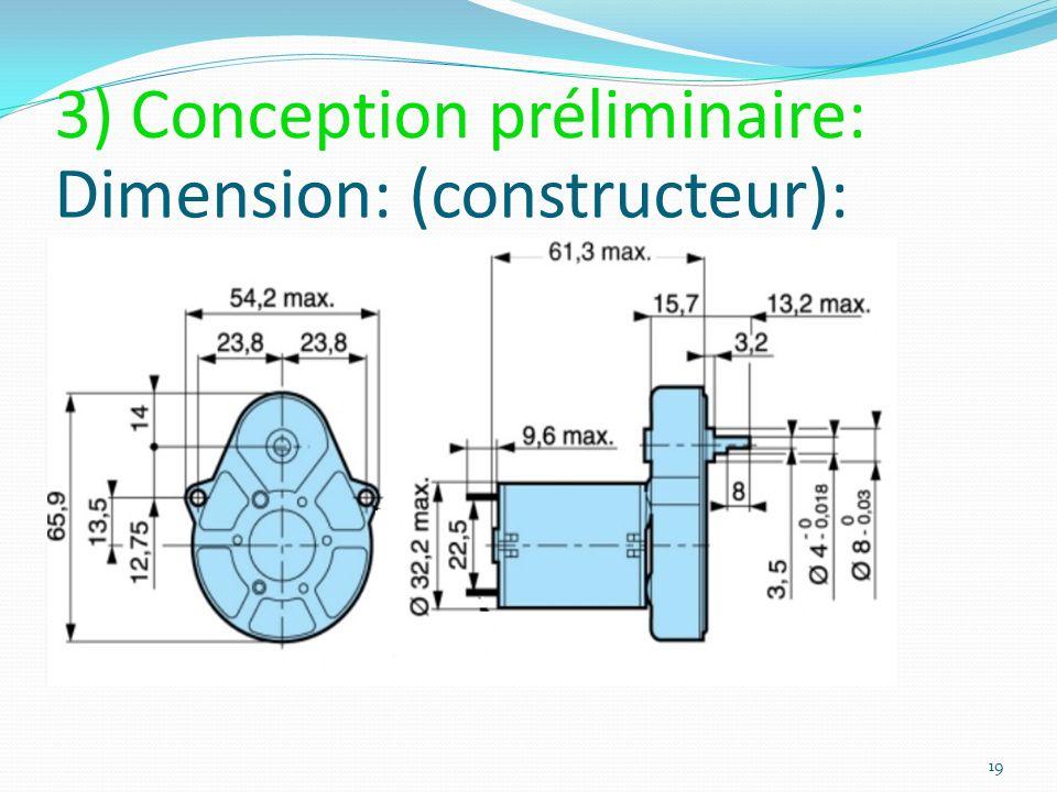 Dimension: (constructeur): 19 3) Conception préliminaire: