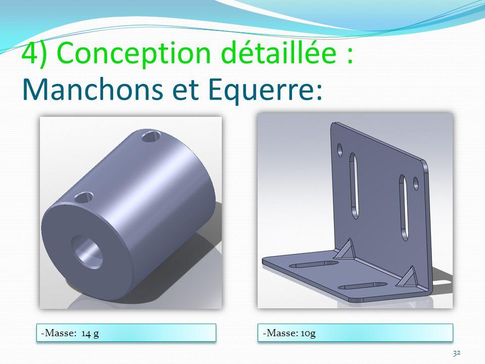 Manchons et Equerre: -Masse: 14 g -Masse: 10g 32 4) Conception détaillée :