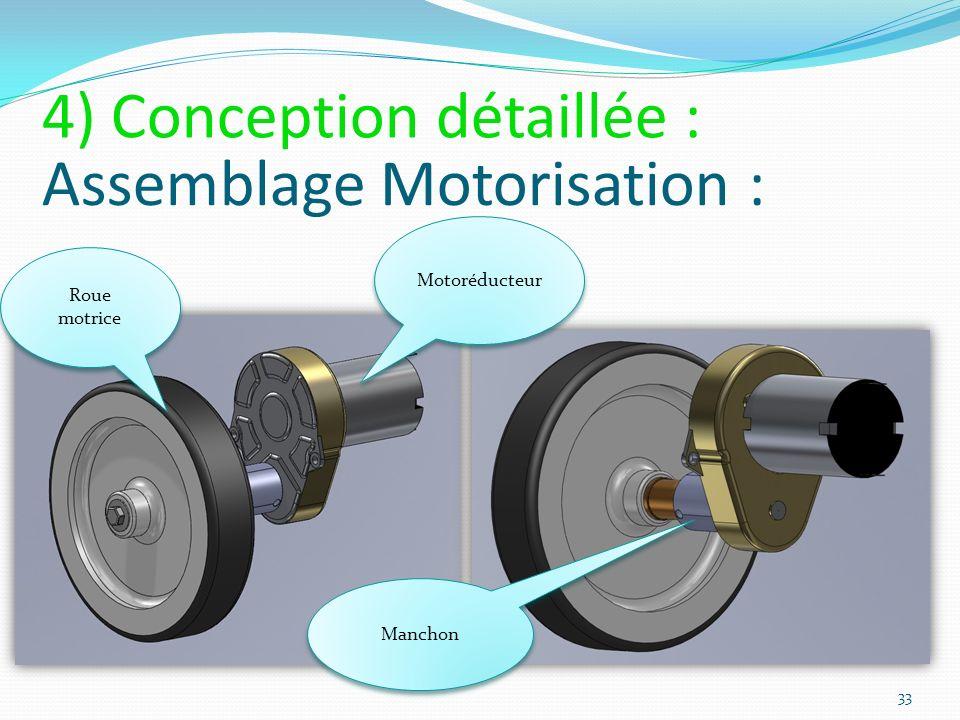 Assemblage Motorisation : Motoréducteur Manchon Roue motrice 33 4) Conception détaillée :