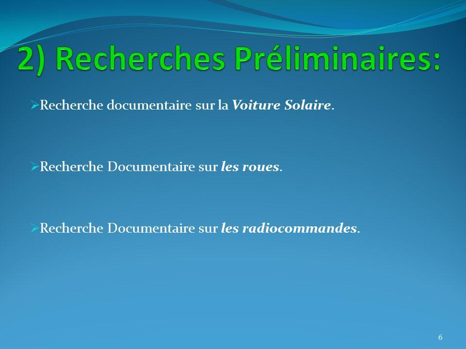Recherche documentaire sur la Voiture Solaire. Recherche Documentaire sur les roues. Recherche Documentaire sur les radiocommandes. 6
