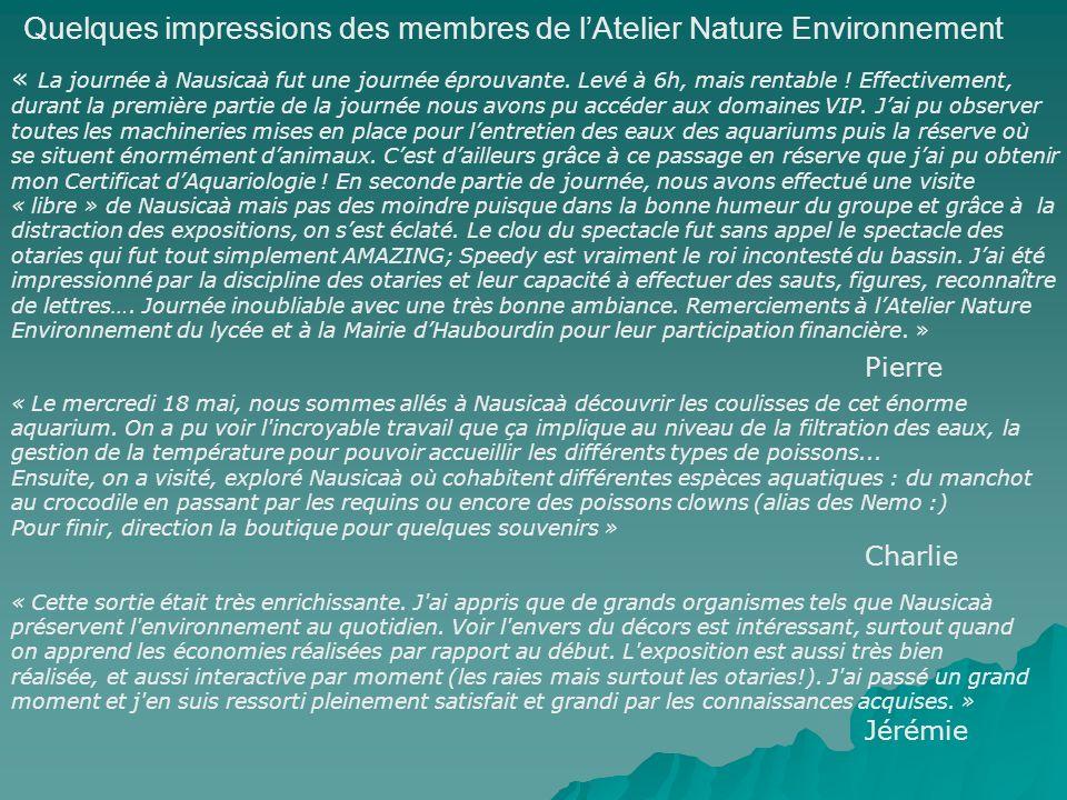 Quelques impressions des membres de lAtelier Nature Environnement « La journée à Nausicaà fut une journée éprouvante.