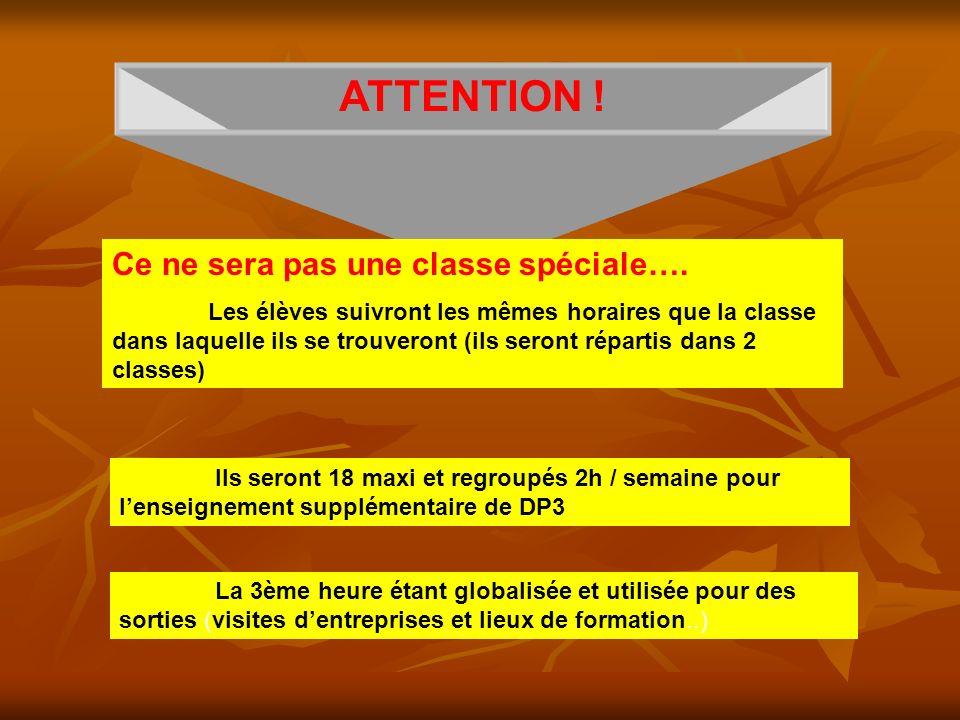 ATTENTION ! Ce ne sera pas une classe spéciale…. Les élèves suivront les mêmes horaires que la classe dans laquelle ils se trouveront (ils seront répa