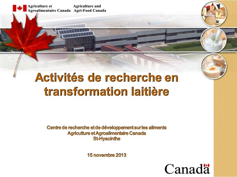 Importance du secteur laitier canadien 3 e en importance après grains et oléagineux et viandes rouges Production de lait 8 Gl (valeur à la ferme 5.9 G$) (12,700 fermes ; 950,000 vaches) Ventes de produits laitiers 13.7 G$ de (16.4% des ventes daliments et boissons) 453 usines de transformation, 22 500 emplois 82% des usines au Québec et en Ontario 2