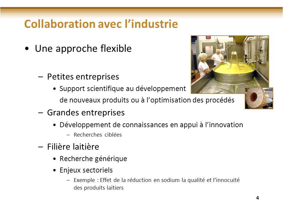 Collaboration avec lindustrie Une approche flexible –Petites entreprises Support scientifique au développement de nouveaux produits ou à loptimisation