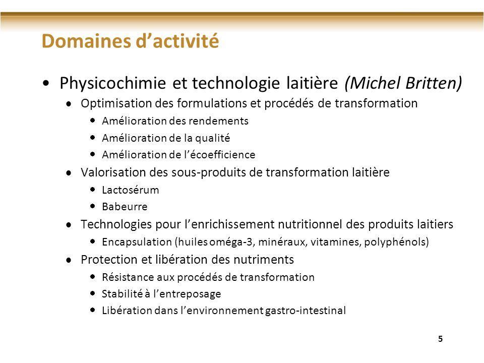 Domaines dactivité Physicochimie et technologie laitière (Michel Britten) Optimisation des formulations et procédés de transformation Amélioration des