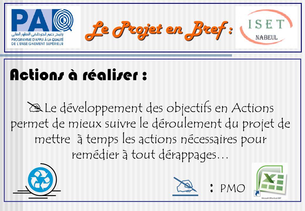 Le Projet en Bref : Actions à réaliser : Le développement des objectifs en Actions permet de mieux suivre le déroulement du projet de mettre à temps les actions nécessaires pour remédier à tout dérappages… : PMO