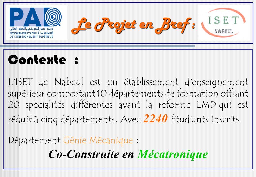 Le Projet en Bref : Contexte : L ISET de Nabeul est un établissement d enseignement supérieur comportant 10 départements de formation offrant 20 spécialités différentes avant la reforme LMD qui est réduit à cinq départements.