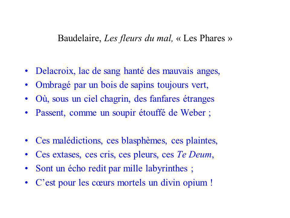 Baudelaire, Les fleurs du mal, « Les Phares » Delacroix, lac de sang hanté des mauvais anges, Ombragé par un bois de sapins toujours vert, Où, sous un ciel chagrin, des fanfares étranges Passent, comme un soupir étouffé de Weber ; Ces malédictions, ces blasphèmes, ces plaintes, Ces extases, ces cris, ces pleurs, ces Te Deum, Sont un écho redit par mille labyrinthes ; Cest pour les cœurs mortels un divin opium !