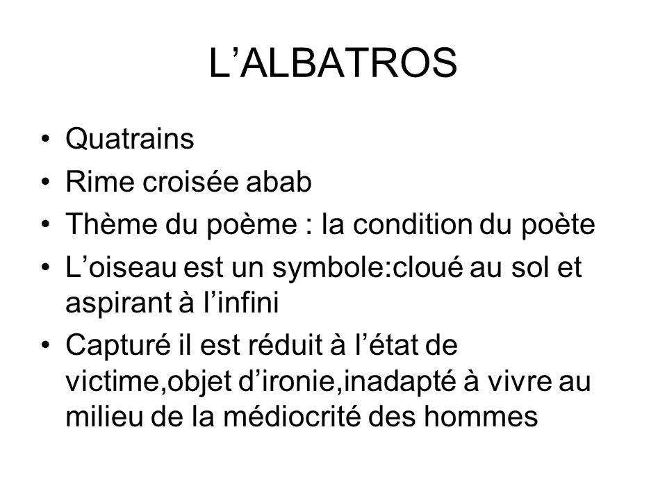 LALBATROS Quatrains Rime croisée abab Thème du poème : la condition du poète Loiseau est un symbole:cloué au sol et aspirant à linfini Capturé il est