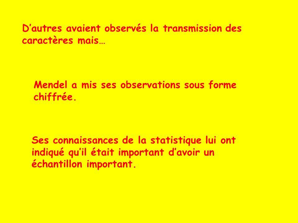 Dautres avaient observés la transmission des caractères mais… Mendel a mis ses observations sous forme chiffrée. Ses connaissances de la statistique l
