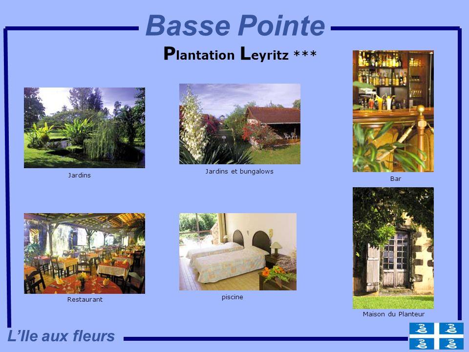 P lantation L eyritz *** Jardins Jardins et bungalows Bar Maison du Planteur piscine Restaurant LIle aux fleurs Basse Pointe