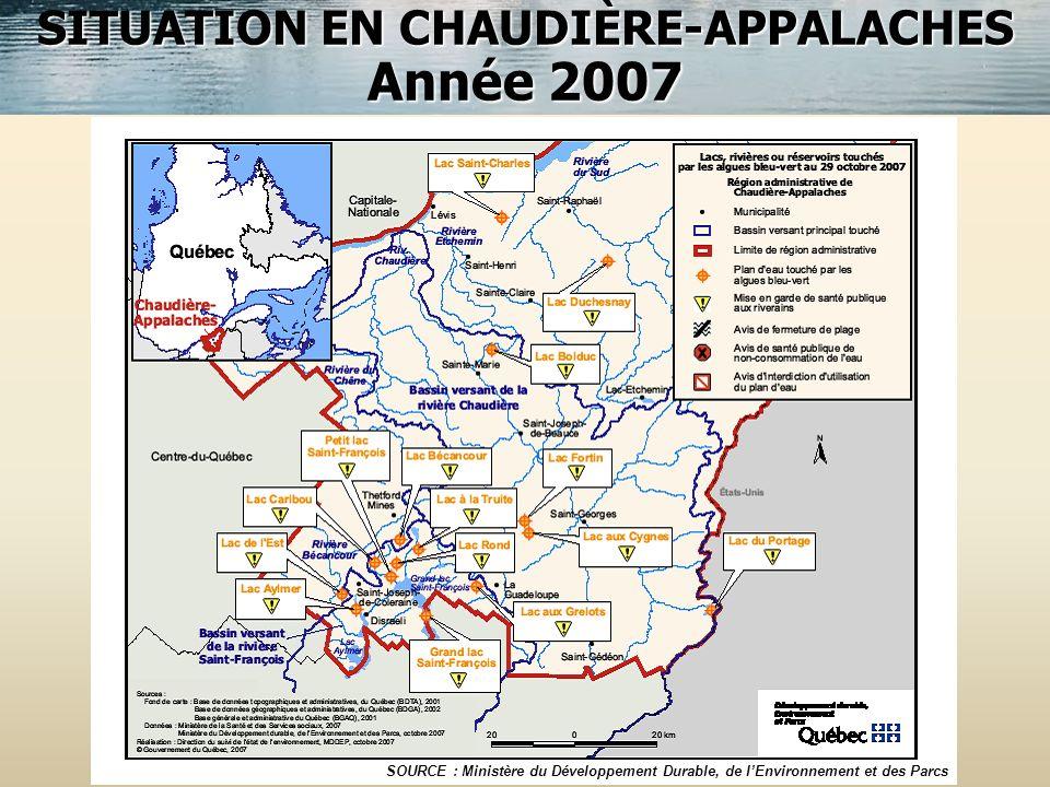 SITUATION EN CHAUDIÈRE-APPALACHES Année 2007 SOURCE : Ministère du Développement Durable, de lEnvironnement et des Parcs