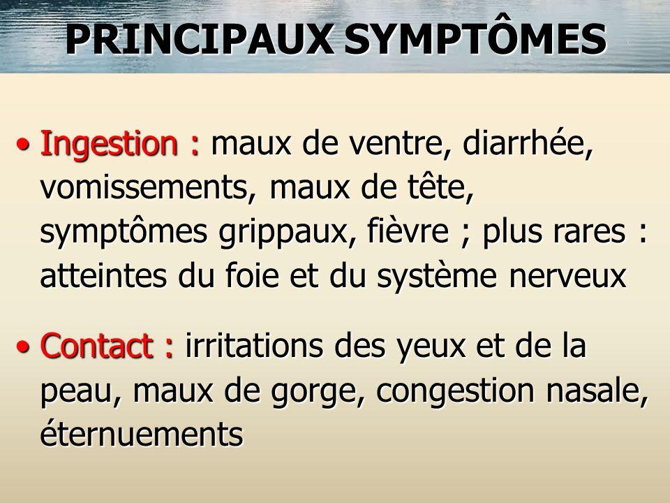 Ingestion : maux de ventre, diarrhée, vomissements, maux de tête, symptômes grippaux, fièvre ; plus rares : atteintes du foie et du système nerveuxIng