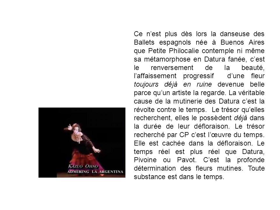 Ce nest plus dès lors la danseuse des Ballets espagnols née à Buenos Aires que Petite Philocalie contemple ni même sa métamorphose en Datura fanée, ce