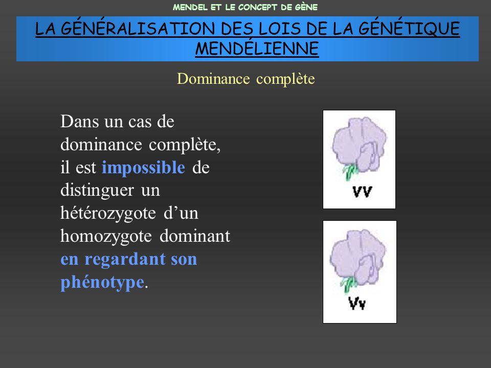 Dans un cas de dominance complète, il est impossible de distinguer un hétérozygote dun homozygote dominant en regardant son phénotype.