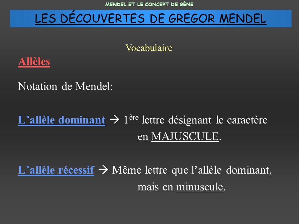 Allèles Notation de Mendel: Lallèle dominant 1 ère lettre désignant le caractère en MAJUSCULE.