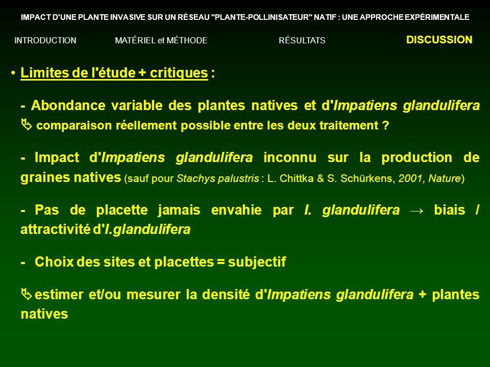 Limites de l étude + critiques : - Abondance variable des plantes natives et d Impatiens glandulifera comparaison réellement possible entre les deux traitement .
