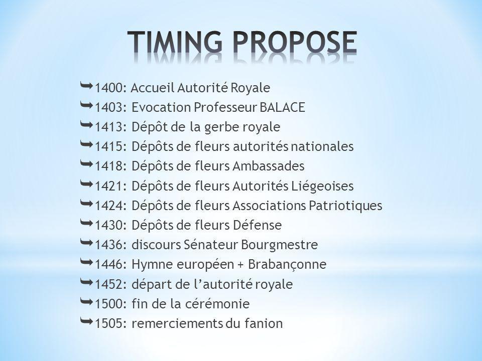 1403: Evocation Professeur BALACE 1413: Dépôt de la gerbe royale 1415: Dépôts de fleurs autorités nationales 1418: Dépôts de fleurs Ambassades 1421: D