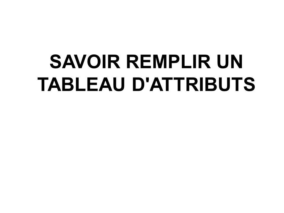 SAVOIR REMPLIR UN TABLEAU D'ATTRIBUTS