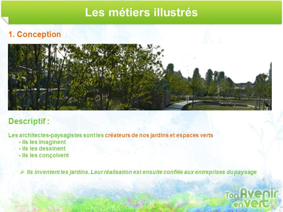 Les métiers illustrés 1. Conception Descriptif : Les architectes-paysagistes sont les créateurs de nos jardins et espaces verts - ils les imaginent -