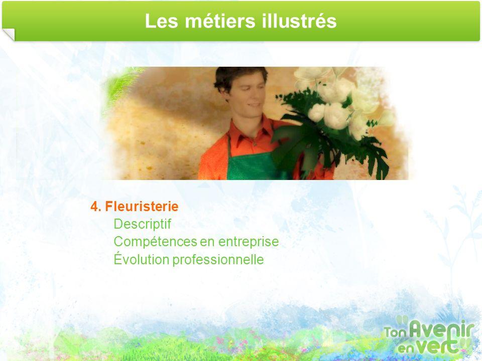 Les métiers illustrés 4. Fleuristerie Descriptif Compétences en entreprise Évolution professionnelle