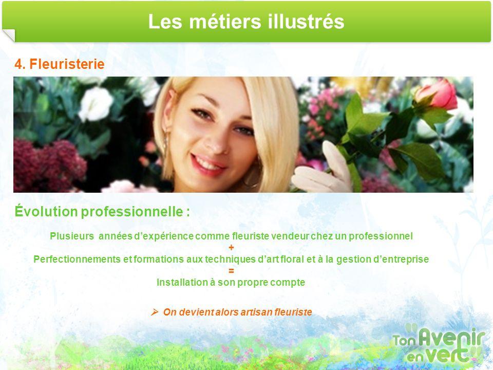 Les métiers illustrés 4. Fleuristerie Évolution professionnelle : Plusieurs années dexpérience comme fleuriste vendeur chez un professionnel + Perfect