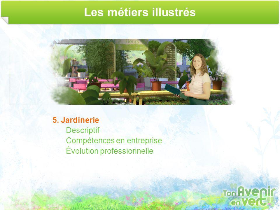 Les métiers illustrés 5. Jardinerie Descriptif Compétences en entreprise Évolution professionnelle