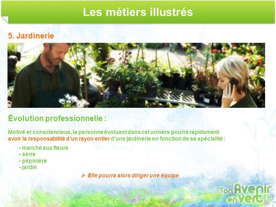 Les métiers illustrés 5. Jardinerie Évolution professionnelle : Motivé et consciencieux, la personne évoluant dans cet univers pourra rapidement avoir