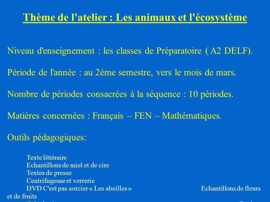 Thème de l'atelier : Les animaux et l'écosystème Niveau d'enseignement : les classes de Préparatoire ( A2 DELF). Période de l'année : au 2ème semestre