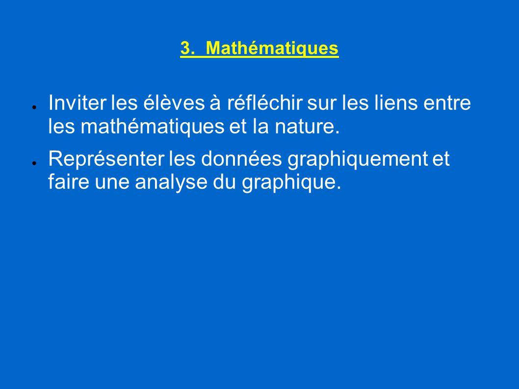 3. Mathématiques Inviter les élèves à réfléchir sur les liens entre les mathématiques et la nature. Représenter les données graphiquement et faire une