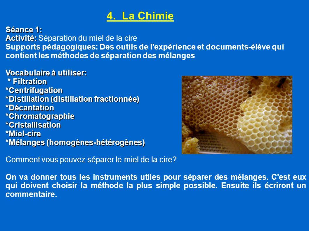 4. La Chimie Séance 1: Activité: Activité: Séparation du miel de la cire Supports pédagogiques: Des outils de l'expérience et documents-élève qui cont
