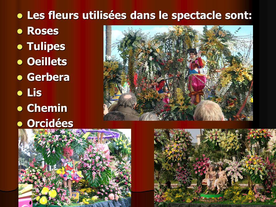 Les fleurs utilisées dans le spectacle sont: Les fleurs utilisées dans le spectacle sont: Roses Roses Tulipes Tulipes Oeillets Oeillets Gerbera Gerber