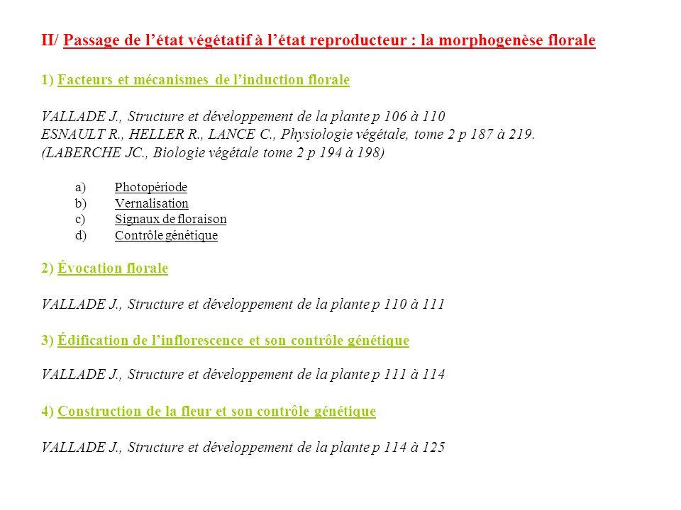 II/ Passage de létat végétatif à létat reproducteur : la morphogenèse florale 1) Facteurs et mécanismes de linduction florale VALLADE J., Structure et