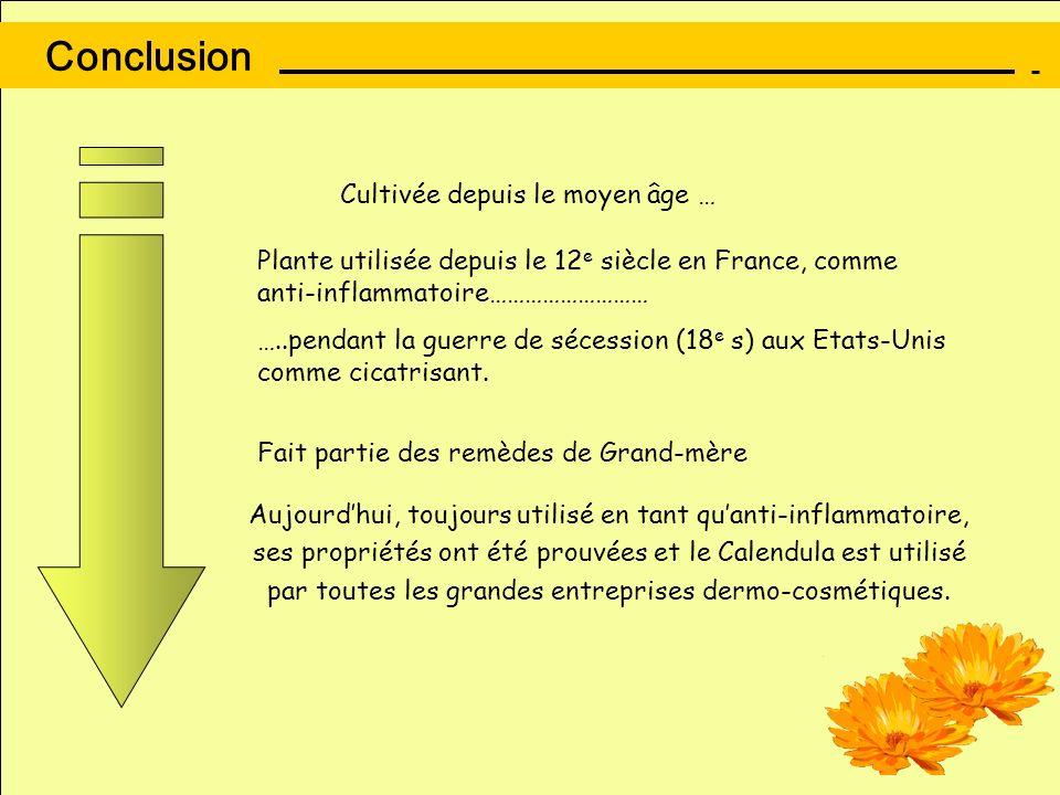 Conclusion Plante utilisée depuis le 12 e siècle en France, comme anti-inflammatoire……………………… …..pendant la guerre de sécession (18 e s) aux Etats-Uni