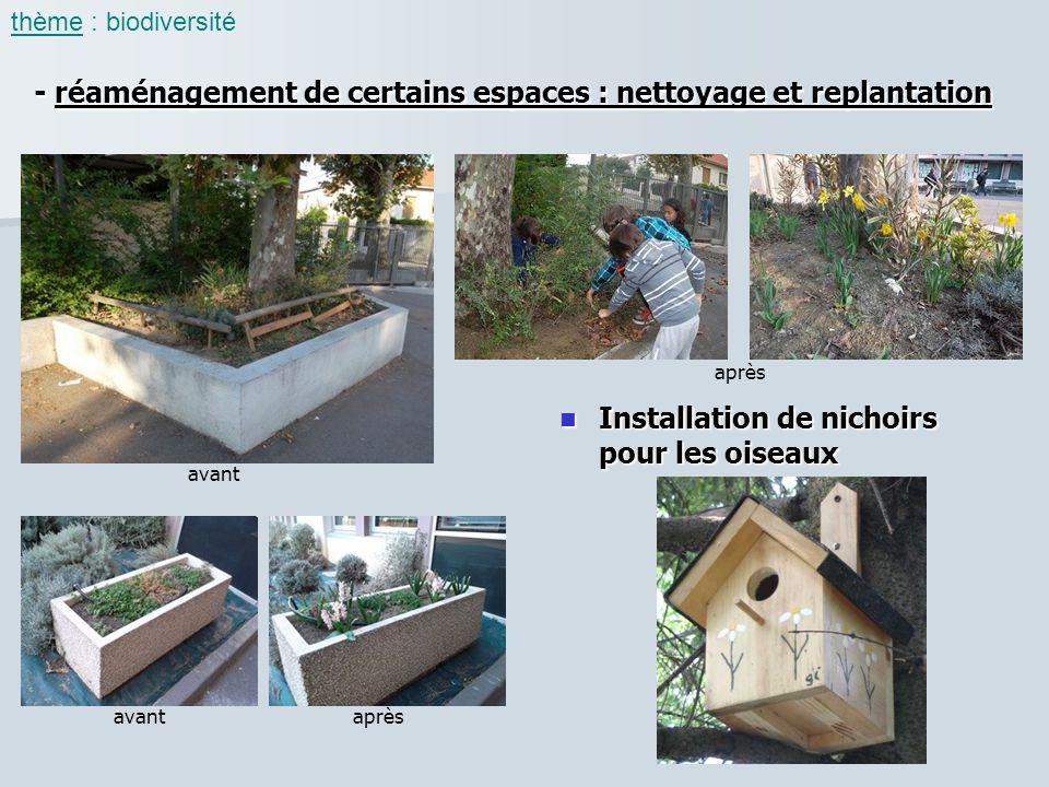 - réaménagement de certains espaces : nettoyage et replantation thème : biodiversité Installation de nichoirs pour les oiseaux Installation de nichoir