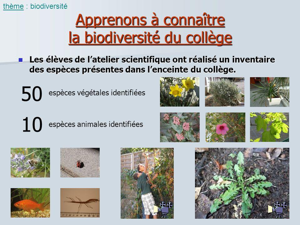 Apprenons à connaître la biodiversité du collège Les élèves de latelier scientifique ont réalisé un inventaire des espèces présentes dans lenceinte du