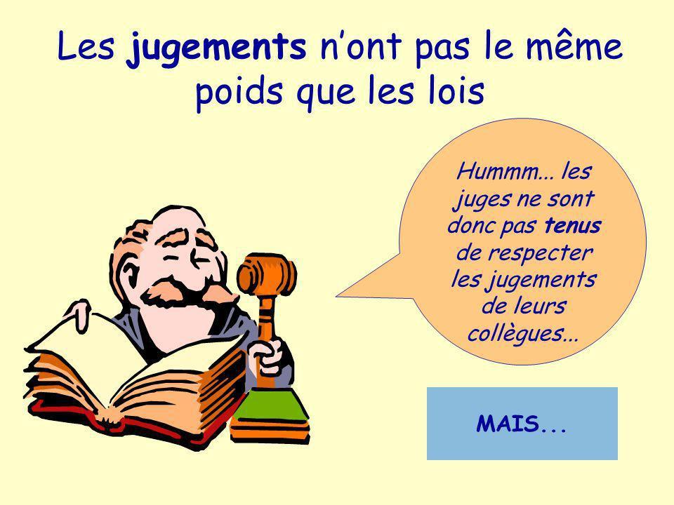 Les jugements nont pas le même poids que les lois Hummm... les juges ne sont donc pas tenus de respecter les jugements de leurs collègues... MAIS...