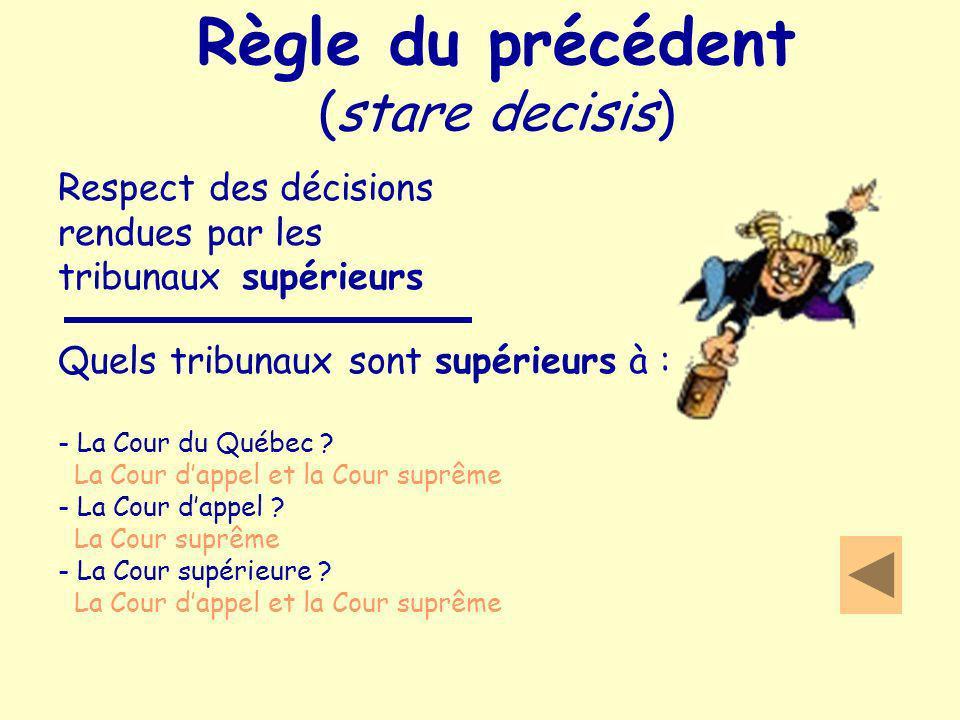 Règle du précédent (stare decisis) Respect des décisions rendues par les tribunaux supérieurs Quels tribunaux sont supérieurs à : - La Cour du Québec