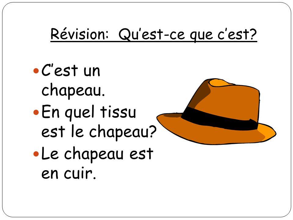Révision: Quest-ce que cest? Cest un chapeau. En quel tissu est le chapeau? Le chapeau est en cuir.