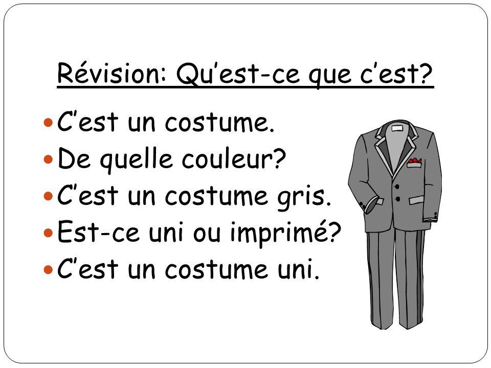 Révision: Quest-ce que cest? Cest un costume. De quelle couleur? Cest un costume gris. Est-ce uni ou imprimé? Cest un costume uni.