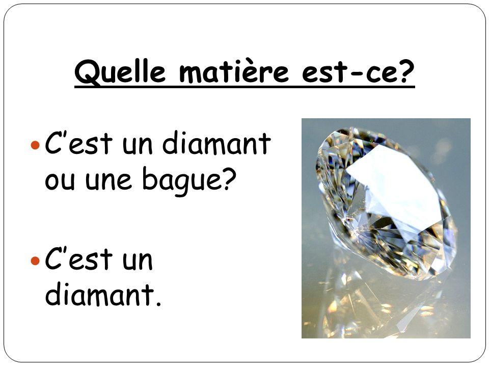 Quelle matière est-ce? Cest un diamant ou une bague? Cest un diamant.