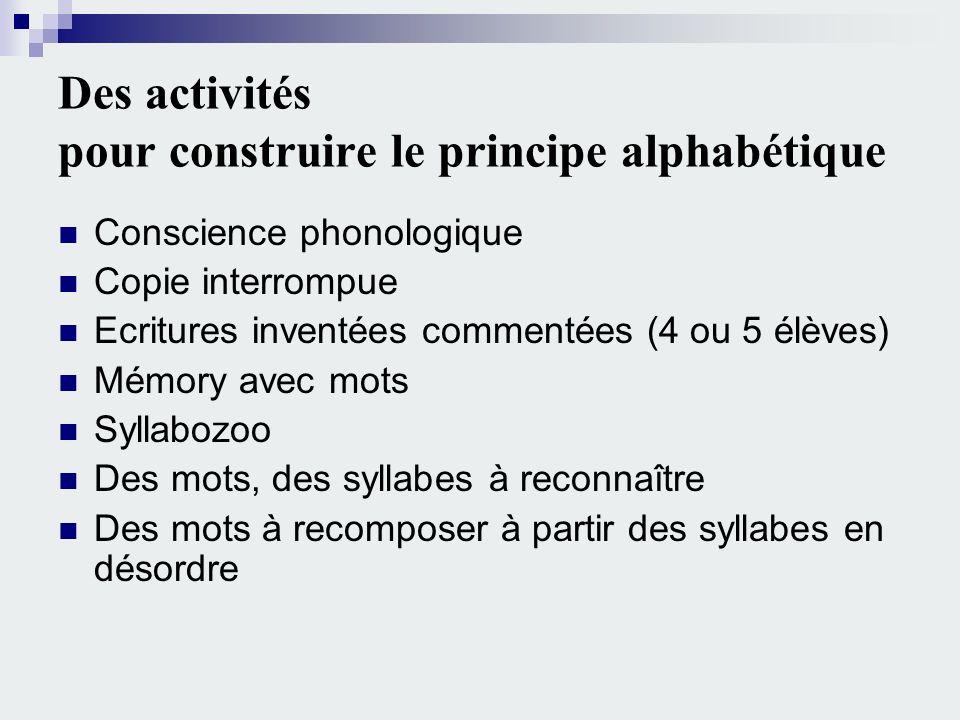 Des activités pour construire le principe alphabétique Conscience phonologique Copie interrompue Ecritures inventées commentées (4 ou 5 élèves) Mémory