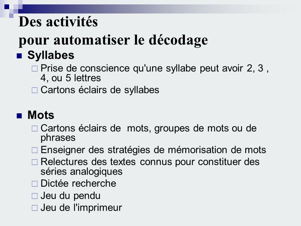 Des activités pour automatiser le décodage Syllabes Prise de conscience qu'une syllabe peut avoir 2, 3, 4, ou 5 lettres Cartons éclairs de syllabes Mo