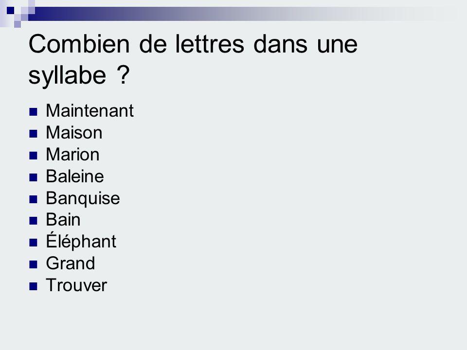 Combien de lettres dans une syllabe ? Maintenant Maison Marion Baleine Banquise Bain Éléphant Grand Trouver