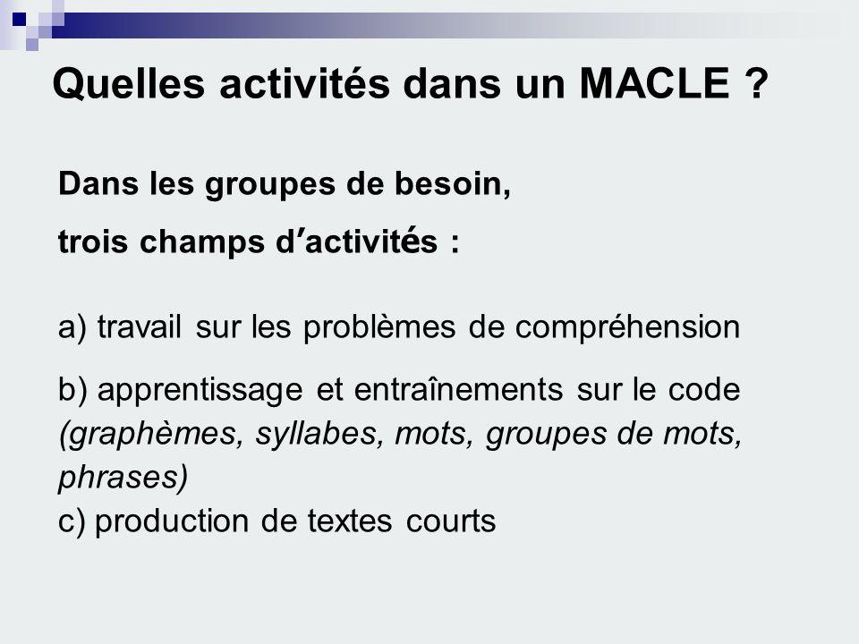 Quelles activités dans un MACLE ? Dans les groupes de besoin, trois champs d activit é s : a) travail sur les problèmes de compréhension b) apprentiss